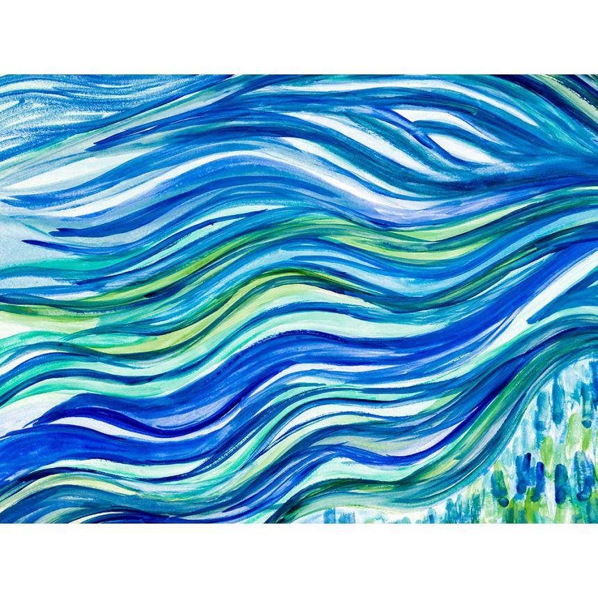 Πίνακας Abstract μπλε κύματα