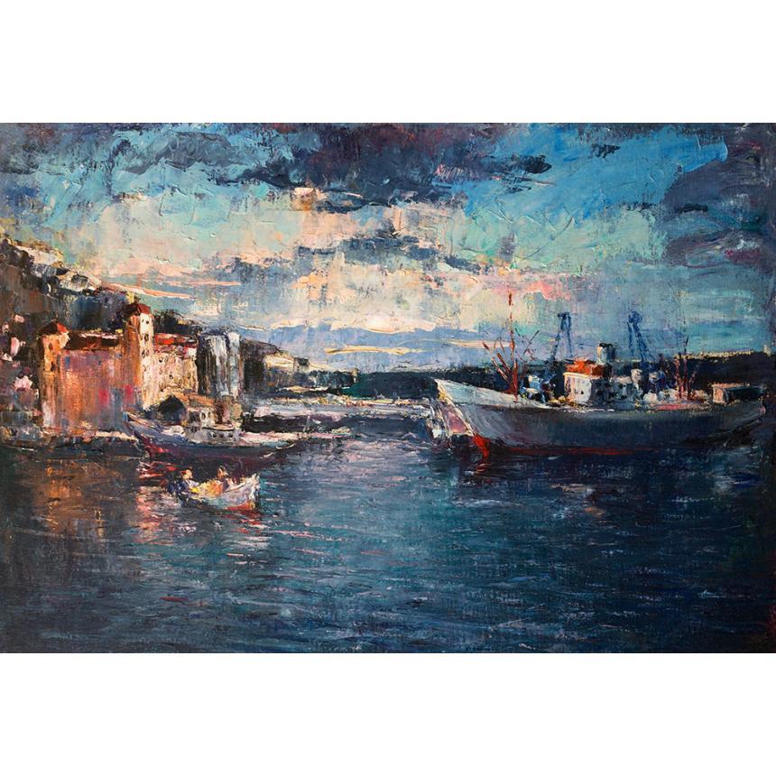 Πίνακας Ηλιοβασίλεμα στο λιμάνι με βάρκες