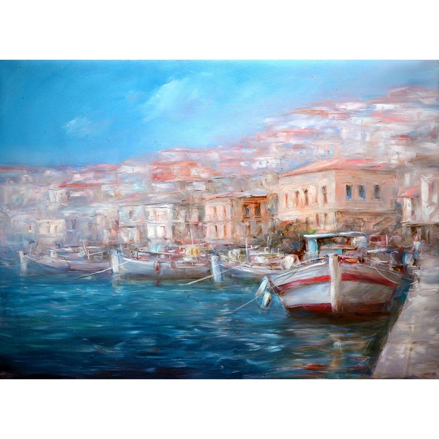 Πίνακας Ψαρόβαρκες στο λιμάνι