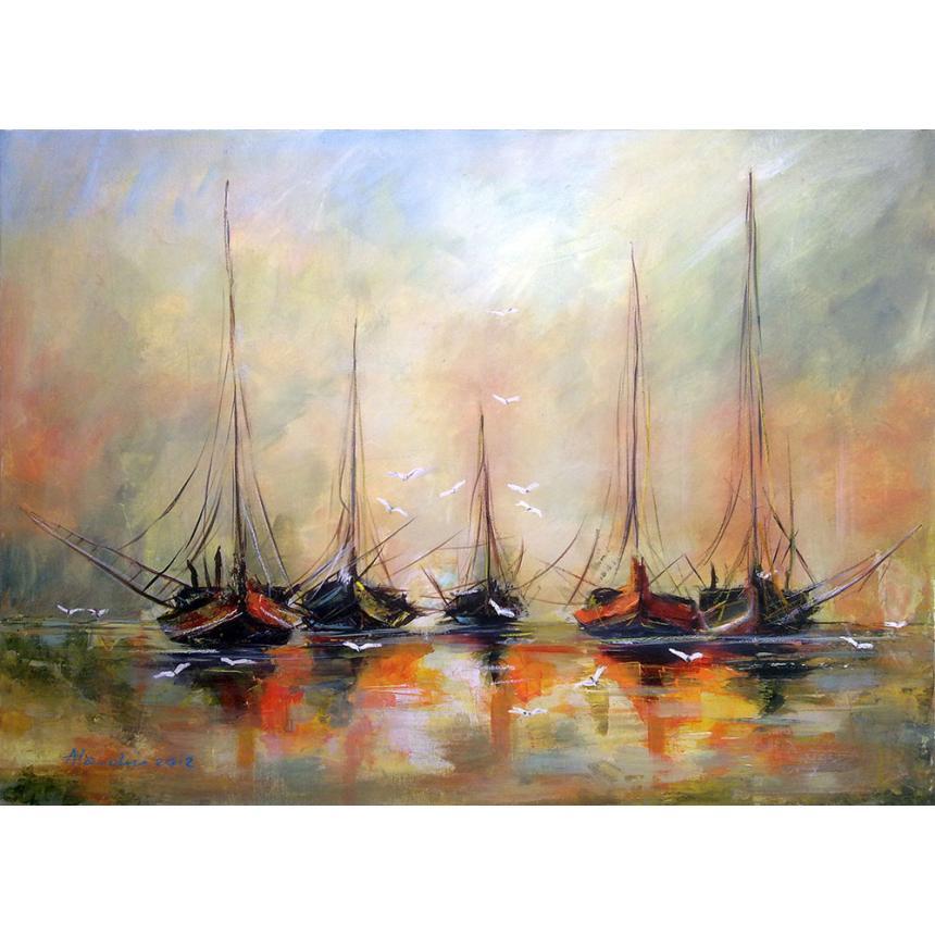 Πίνακας Σκιές των σκαφών στη θάλασσα