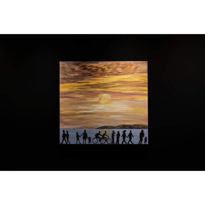 Πίνακας ηλιοβασίλεμα στη παραλία
