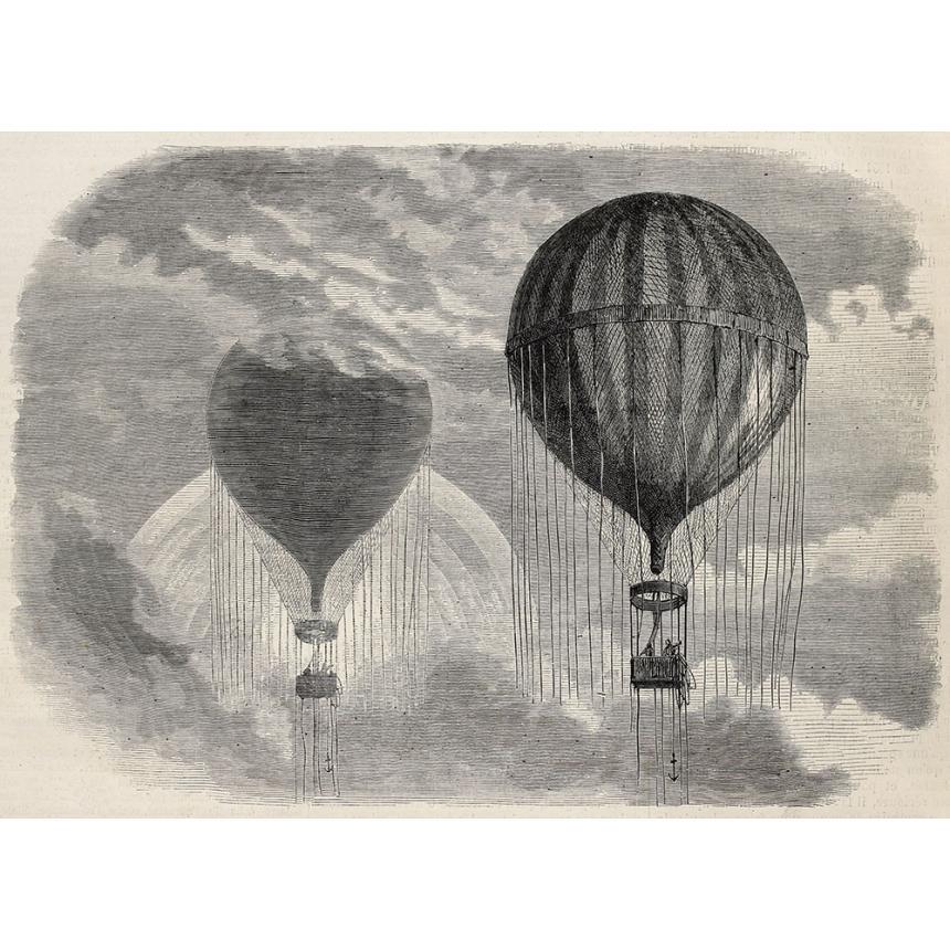 Πίνακας ζωγραφικής Αερόστατο ασπρόμαυρο