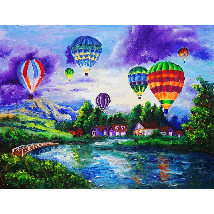 Πίνακας ζωγραφικής Πολύχρωμα αερόστατα
