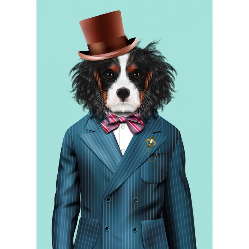 Πίνακας Σκύλος με σακάκι και καπέλο