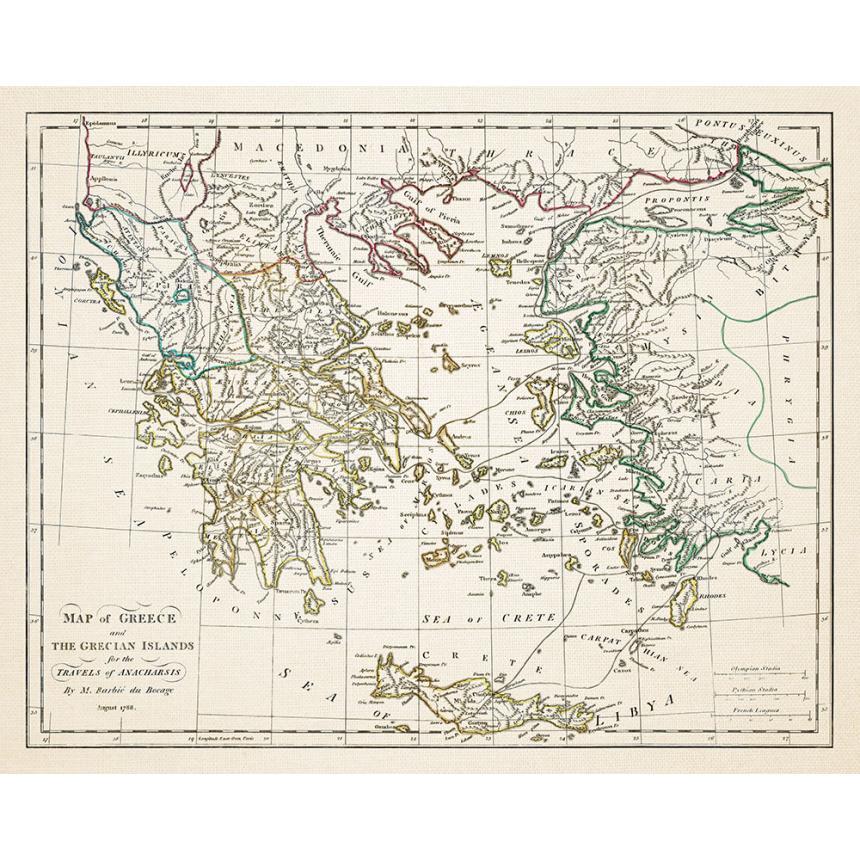 Χάρτης της Ελλάδας  1788