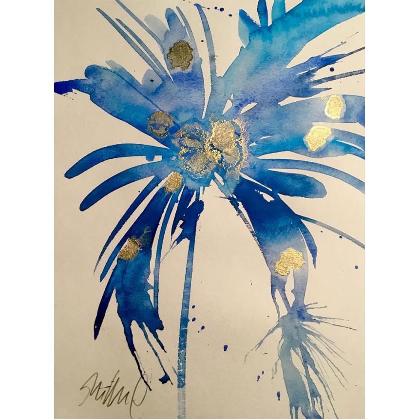 Πίνακας Abstract μπλε λουλούδι