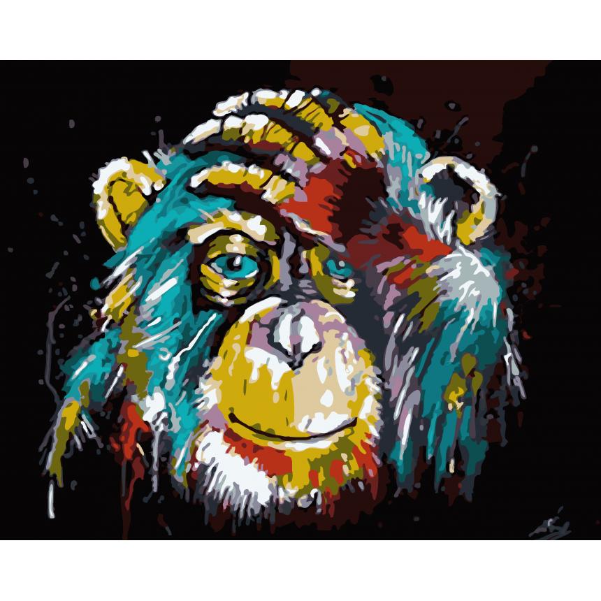 Πίνακας ζωγραφικής Χρωματιστή Μαϊμού