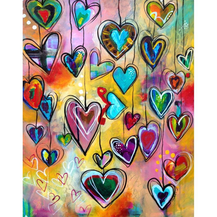 Πίνακας Πολύχρωμες καρδιές`