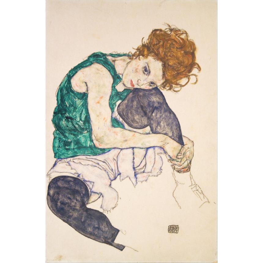 Πίνακας Egon Schiele - Sitting Woman with Legs Drawn Up