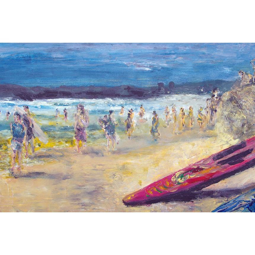 Πίνακας Κόκκινο κανό στην παραλία