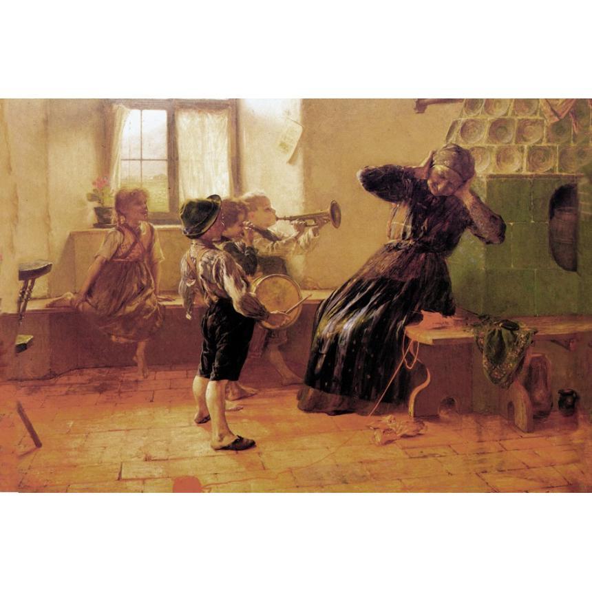 Πίνακας Παίζοντας μουσική στην γιαγιά