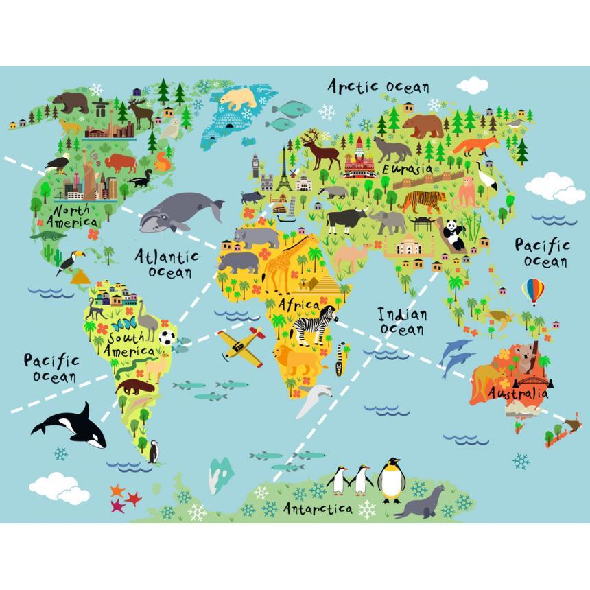 Παγκόσμιος χάρτης με ζωάκια