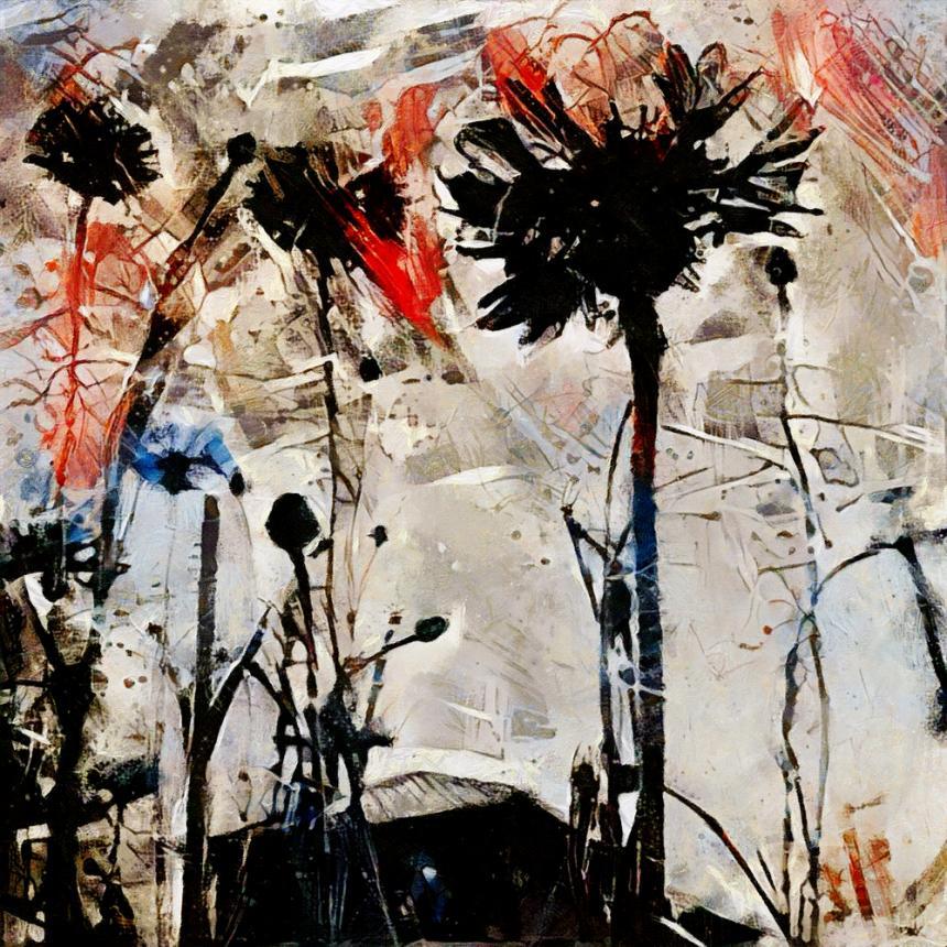 Πίνακας Abstract λουλούδια