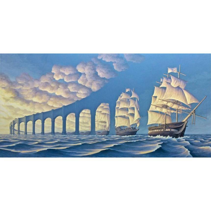 Πίνακας Πλοία και σύννεφα