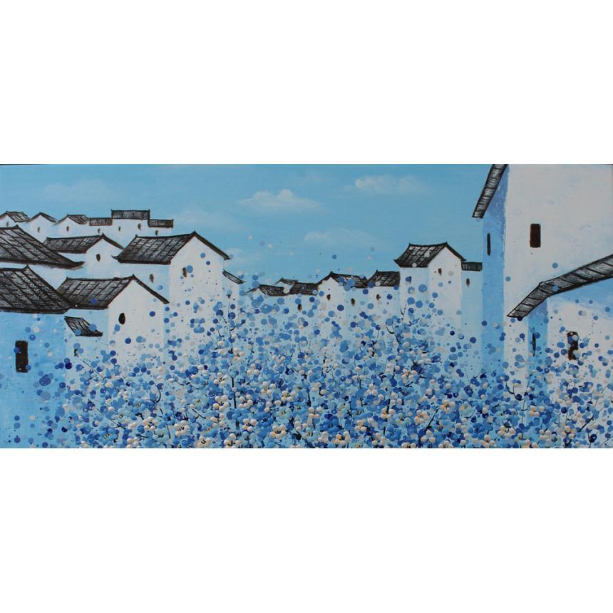 Πίνακας Μπλε σπίτια