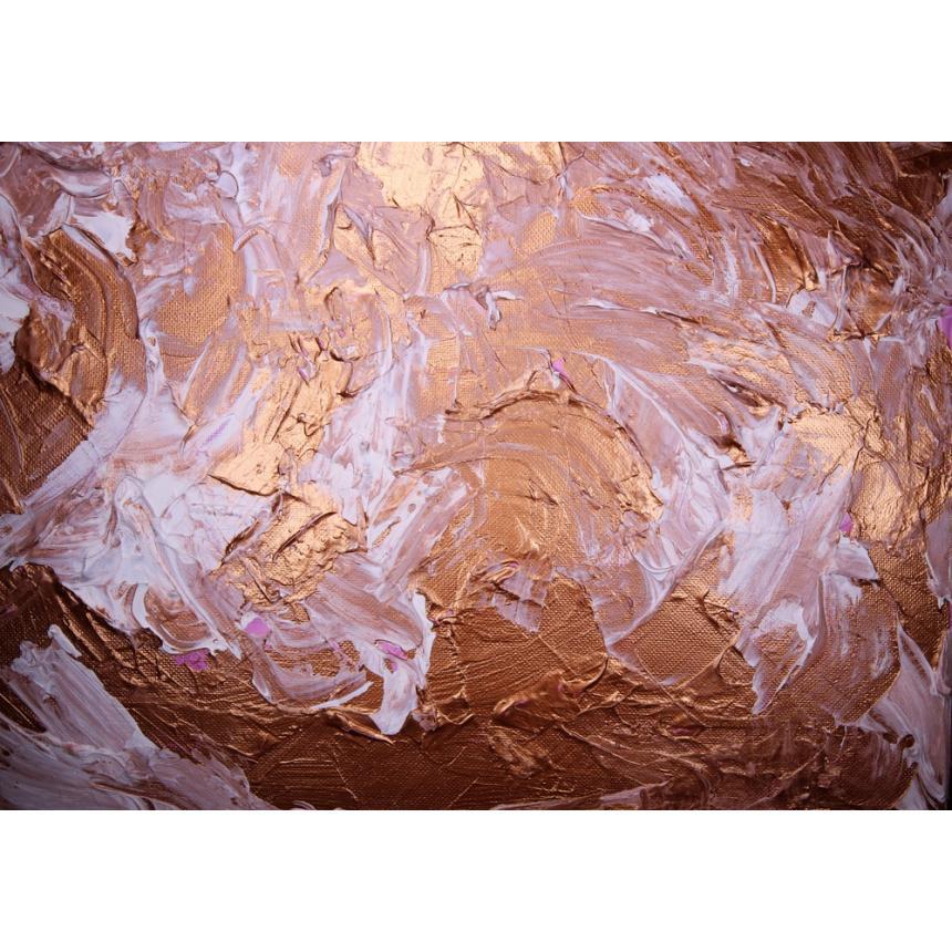 Πίνακας Abstract λευκό/μπρονζέ