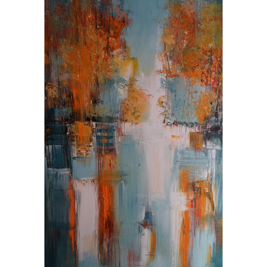 Πίνακας Abstract γαλάζιο/πορτοκαλί