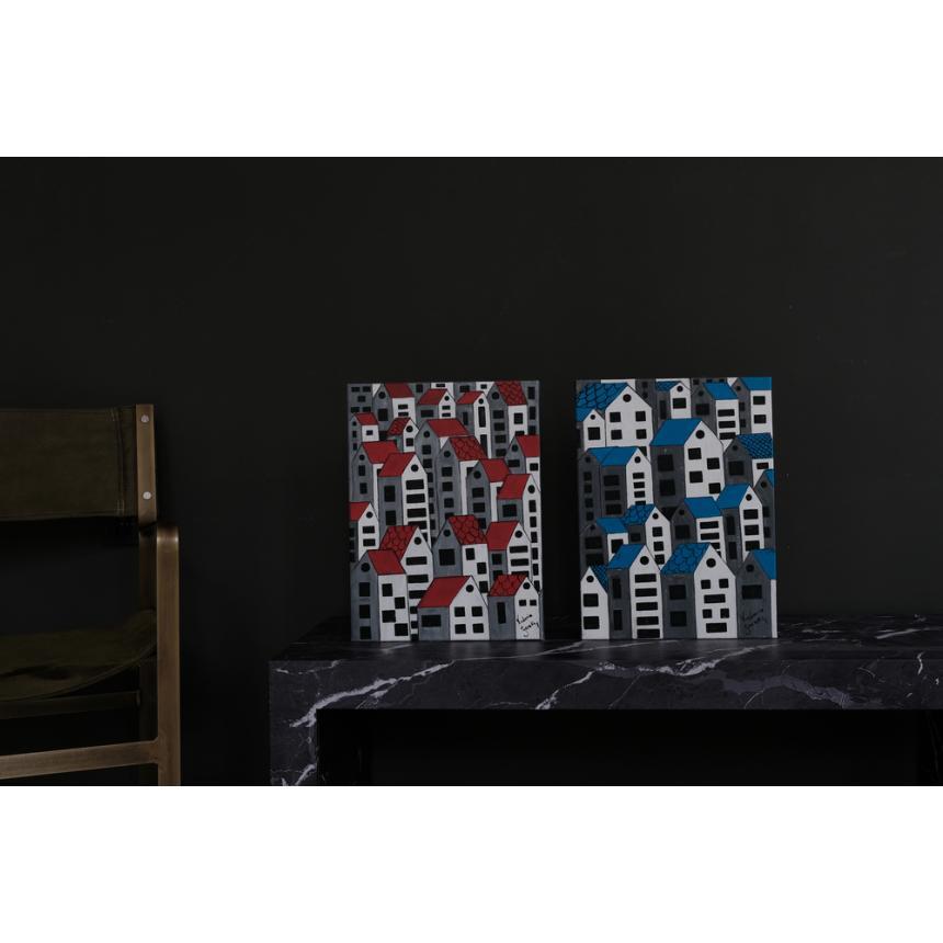 Πίνακας ζωγραφικής σπιτάκια μπλε/κόκκινα