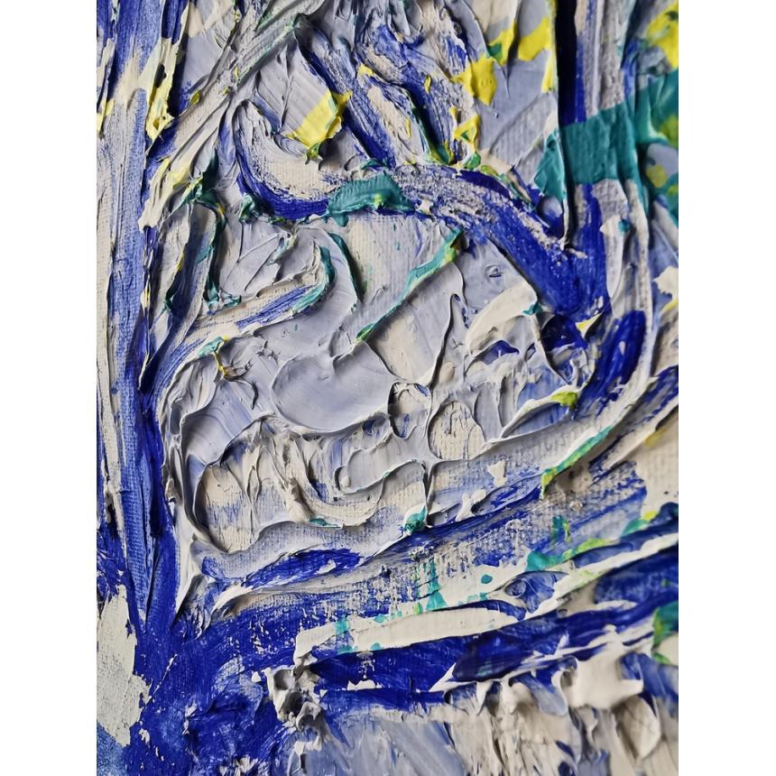 Πίνακας ζωγραφικής μπλε δέντρο